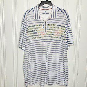 Tommy Bahama Blue Striped Tropical Shirt Mens XL